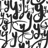 Le modèle sans couture de vecteur avec la calligraphie marque avec des lettres Y Images libres de droits