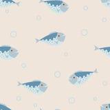 Le modèle sans couture de vecteur avec les poissons bleus Photo libre de droits