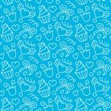 Le modèle sans couture de vecteur doux avec des coeurs, petits gâteaux, fleurs, cintre Fond tiré par la main de fille mignon Text illustration libre de droits