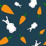 Le modèle sans couture des carottes et le lapin dirigent l'illustration Photos libres de droits