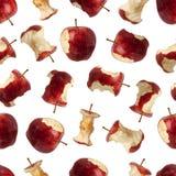 Le modèle sans couture des morsures a enlevé une pomme Photographie stock libre de droits