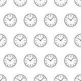 Le modèle sans couture du cadran branche la découpe de noir d'icône d'horloge Photographie stock