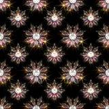 Le modèle sans couture du diamant fleurit sur le fond noir photos stock