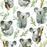Le modèle sans couture du koala d'aquarelle tient le bambou illustration stock