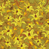 Le modèle sans couture floral avec le jaune fleurit le lis Photo libre de droits