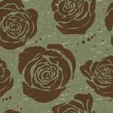 Le modèle sans couture floral de vecteur avec la grande silhouette décorative a monté Papier peint de fleurs Photographie stock libre de droits