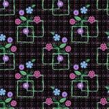 Le modèle sans couture floral, les fleurs mignonnes noircissent le fond avec les éléments décoratifs Image libre de droits