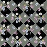 Le modèle sans couture floral, les fleurs mignonnes noircissent le fond avec les éléments décoratifs Photographie stock