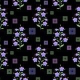 Le modèle sans couture floral, les fleurs mignonnes noircissent le fond avec les éléments décoratifs Photographie stock libre de droits