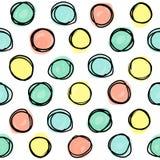 Le modèle sans couture, formes de cercle de griffonnage a rayé dans une grille illustration stock