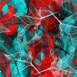 Le modèle sans couture géométrique abstrait avec des feuilles contourne les éléments contemporains décoratifs bleu d'océan marron Photo stock