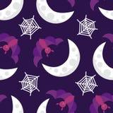 Le modèle sans couture Halloween manie la batte sur la lune avec le Web Photo stock
