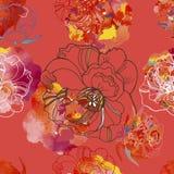 Le modèle sans couture lumineux avec de beaux roses et pré fleurit Image stock