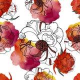 Le modèle sans couture lumineux avec de beaux roses et pré fleurit Photographie stock