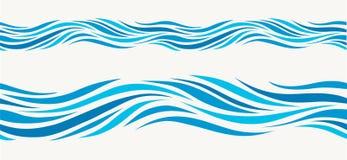 Le modèle sans couture marin avec le bleu stylisé ondule sur un fond clair Photo libre de droits