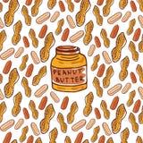 Le modèle sans couture mignon avec des arachides et le beurre cognent Fond tiré par la main nuts esquissé de vecteur Pour votre c Images stock