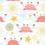 Le modèle sans couture mignon marin avec le griffonnage coloré marche en crabe, des étoiles de mer Image libre de droits