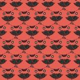 Le modèle sans couture principal du chat mignon sur un fond rose Photos libres de droits