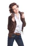 le modekvinnan i höstdräkt Fotografering för Bildbyråer