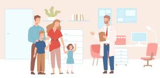 Le modern, kom fadern och barn till kontoret, kliniken eller sjukhuset för läkare` s Besök till det familjdoktorn eller mötet royaltyfri illustrationer