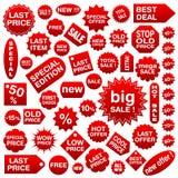 Le modifiche d'acquisto (contrassegni) hanno impostato 1 Immagini Stock