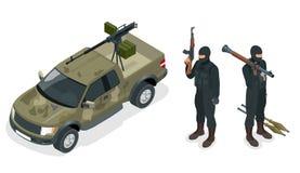 Le modèle isométrique du camion pick-up a armé avec la mitrailleuse Les policiers d'ops de Spéc. FRAPPENT dans l'uniforme noir So Images stock