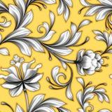 Le modèle sans couture floral abstrait, épousant fleurit le fond de dentelle Image stock