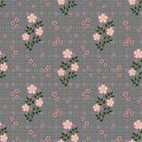 Le modèle sans couture floral, bande dessinée mignonne fleurit le fond gris dans les points Photographie stock libre de droits