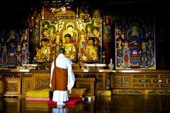 Le moine de bouddhisme prient devant l'image de Bouddha au yo de Haedong photographie stock