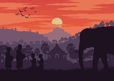 Le moine reçoivent la nourriture pendant le matin tandis que le passage un symbole d'éléphant de la Thaïlande et le Laos, concept illustration stock