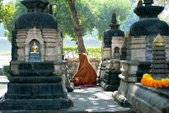 Le moine seul prient à Bouddha en parc Photo stock