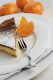 Le moka de chocolat et le gâteau au fromage orange avec le dessert bifurquent Images stock