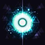 Le molecole delle particelle e del triangolo osservano il futurista di tecnologia digitale royalty illustrazione gratis