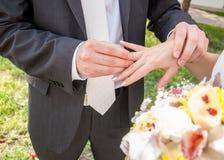 Le moment d'attacher l'anneau de mariage Boucles de mariage, jour du mariage Images stock