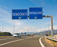 Le moment du choix, du républicain ou du Démocrate Image stock