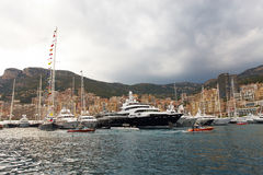 Le Monaco, Monte Carlo, 25 09 2008 : exposition de yacht, port Hercule Photos libres de droits