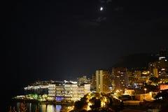 Le Monaco Monte Carlo par nuit Images libres de droits