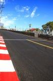 Le Monaco, Monte Carlo. Sainte consacrent l'asphalte droit de course, circuit de Grand prix Image stock