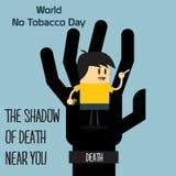 Le monde aucun celebation de jour de tabac, signe pour la bande dessinée mignonne plate 31 d'illustration de conception de souven Photographie stock libre de droits