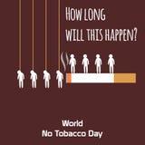 Le monde aucun celebation de jour de tabac, signe pour la bande dessinée mignonne plate 31 d'illustration de conception de souven Photos libres de droits