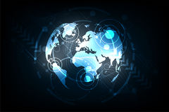 Le monde de technologie sur un fond bleu-foncé Photo stock