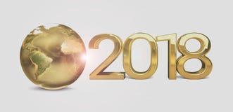 2018 le monde global 3d d'or rendent Photos libres de droits