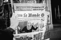 Le Monde magazine with Marine le Pen conversion to Islam bw Stock Photo
