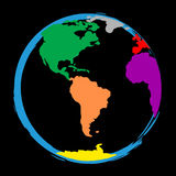 Le monde signifie la couleur colorée et vibrant colorés Photographie stock libre de droits