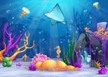 Le monde sous-marin avec un poisson drôle et les poissons ramp illustration stock