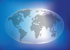 Le monde stylised avec la carte du monde dans les points Images libres de droits