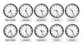 horloges de fuseau horaire du monde illustration stock. Black Bedroom Furniture Sets. Home Design Ideas
