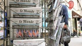 Le Monde-U S President Donald Trump de Koreaanse leider van het vergaderingsnoorden stock footage