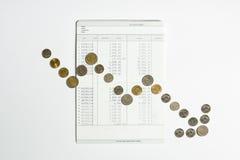 Le monete allineano per mostrare il grafico che va giù sul libro contabile di risparmio della banca Fotografia Stock Libera da Diritti