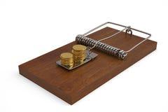 Le monete con il topo intrappolano isolato sul illustrati bianco del fondo 3D Fotografia Stock Libera da Diritti